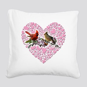 cardinals on heart Square Canvas Pillow