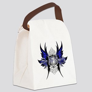 BlueonWhite-CAFEPRESS Canvas Lunch Bag