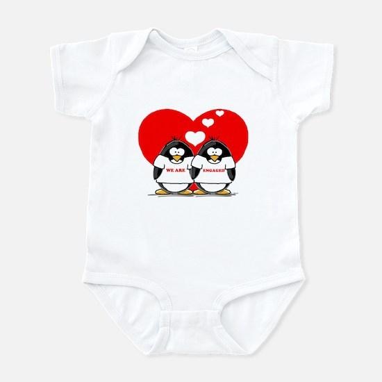 We Are Engaged Penguins Infant Bodysuit