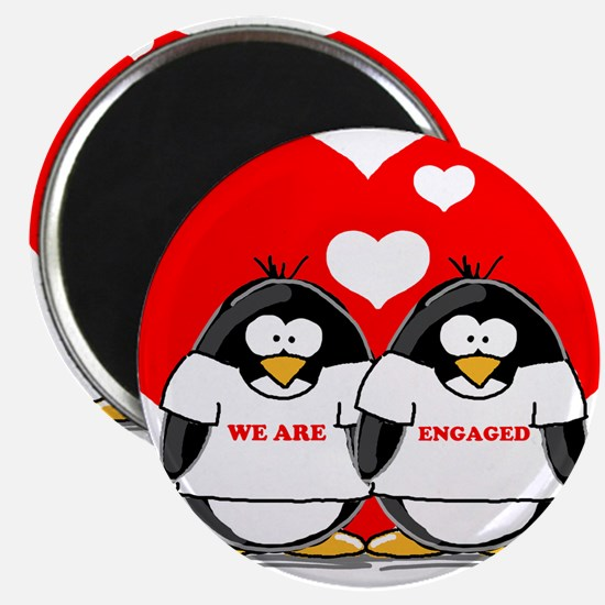 """We Are Engaged Penguins 2.25"""" Magnet (10 pack)"""