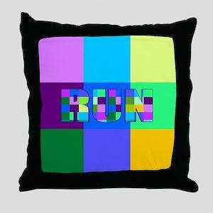 Run Squares Throw Pillow