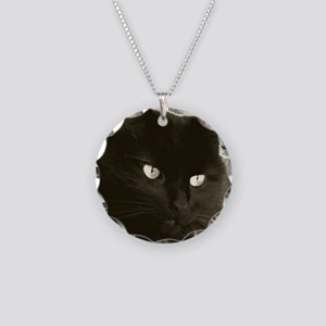 black kitty pillow Necklace Circle Charm