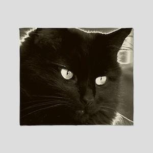 black kitty pillow Throw Blanket