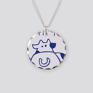 Eat no cow - blueb Necklace Circle Charm