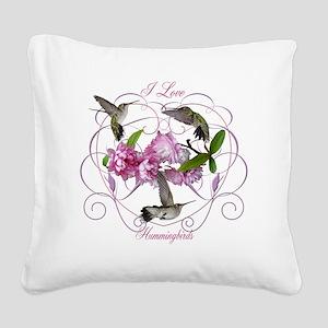 I love hummingbirds 2 Square Canvas Pillow