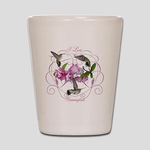 I love hummingbirds 2 Shot Glass