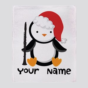Personalized Christmas Clarinet Penguin Throw Blan