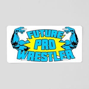 Future Pro Wrestler Blue Aluminum License Plate
