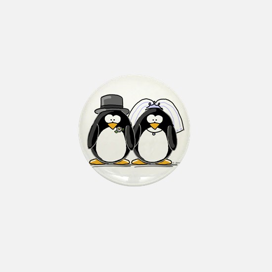 Bride and Groom Penguins Mini Button