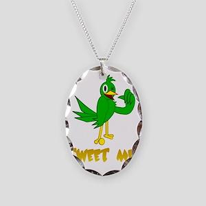 tweet me! Bird Necklace Oval Charm