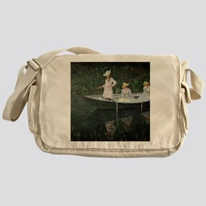 The Boat at Giverny, c.1887  by Clau Messenger Bag