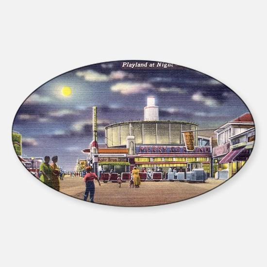 boardwalk playland Sticker (Oval)