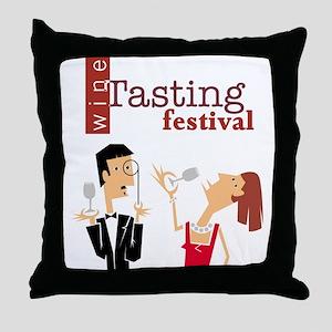 Wine Tasting Festival Red Throw Pillow