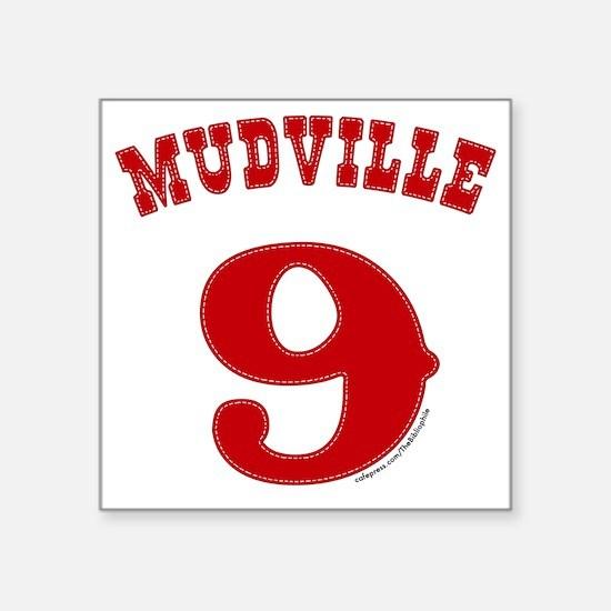 "Mudville9 (red) Square Sticker 3"" x 3"""