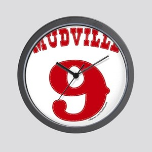 Mudville9 (red) Wall Clock