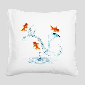 Splashing Fish Square Canvas Pillow