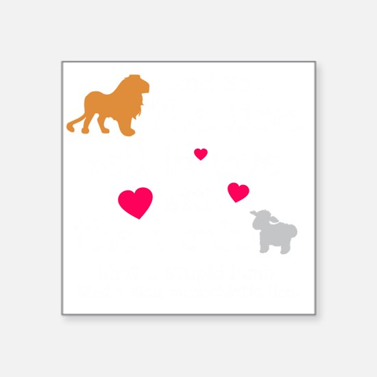 "Lion  Lamb dk Square Sticker 3"" x 3"""