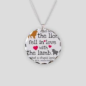 Lion  Lamb Necklace Circle Charm