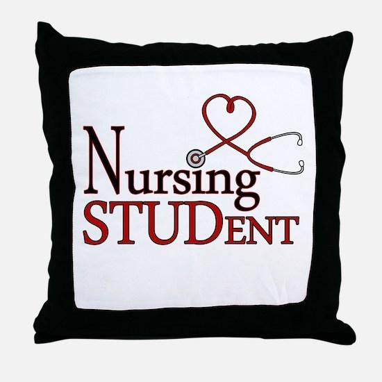 Nursing Student Cute Heart Stethoscope Throw Pillo