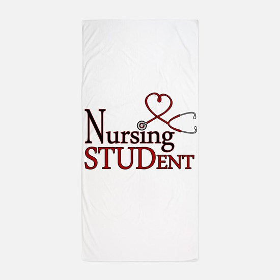 Nursing Student Cute Heart Stethoscope Beach Towel