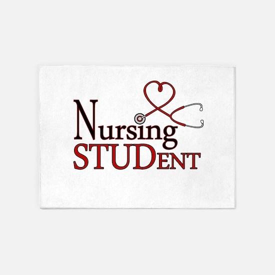 Nursing Student Cute Heart Stethoscope 5'x7'Area R