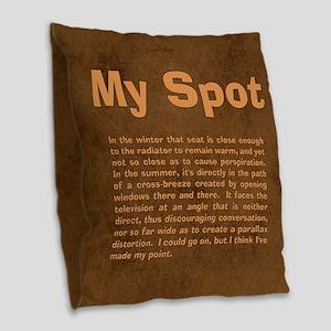 Sheldon's My Spot Quote Burlap Throw Pillow