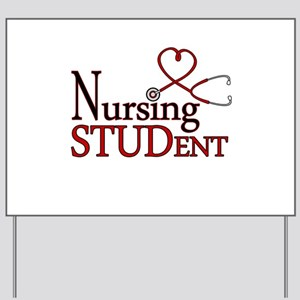 Nursing Student Cute Heart Stethoscope Yard Sign