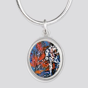 Abstract Epee2 Silver Oval Necklace