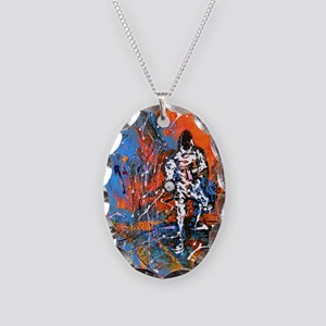Abstract Epee2 Necklace Oval Charm