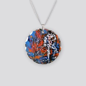 Abstract Epee2 Necklace Circle Charm