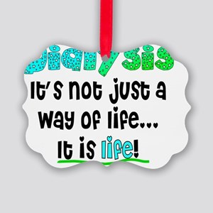 Dialysis way of life blue green Picture Ornament