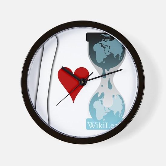 i heart wikileaks2white Wall Clock