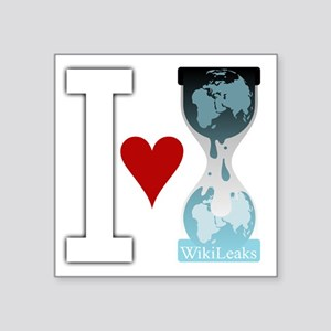 "i heart wikileakswhite Square Sticker 3"" x 3"""