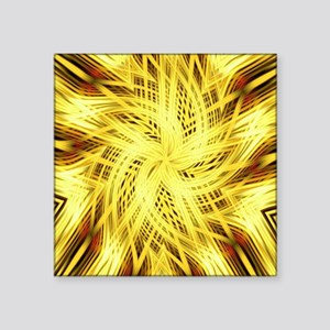 """gold flower abstract art Square Sticker 3"""" x 3"""""""