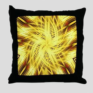 gold flower abstract art Throw Pillow