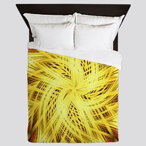 gold flower abstract art Queen Duvet