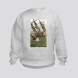 Giant Squid vs. Pirates color Kids Sweatshirt
