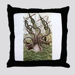 Giant Squid vs. Pirates color Throw Pillow