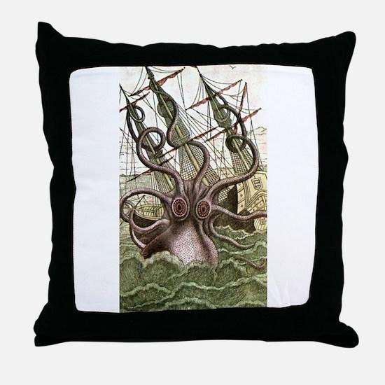 Giant Squid vs. Pirates color Throw Pillow