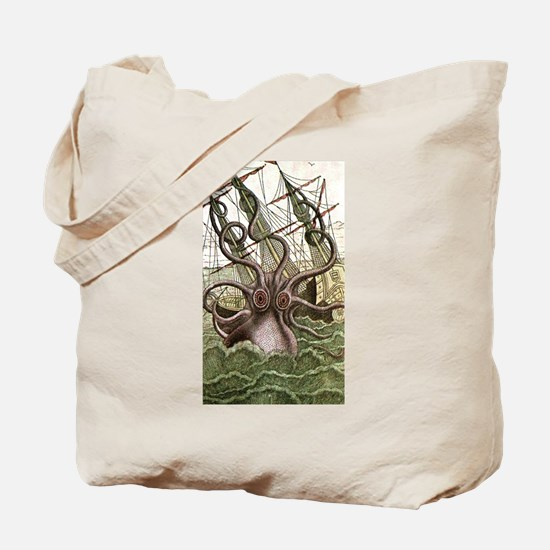 Giant Squid vs. Pirates color Tote Bag