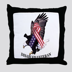 Disabled Veteran Eagle and Ribbon Throw Pillow