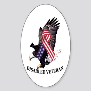 Disabled Veteran Eagle and Ribbon Sticker (Oval)