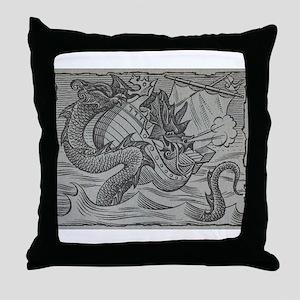 Sea Serpent vs. Vikings Throw Pillow