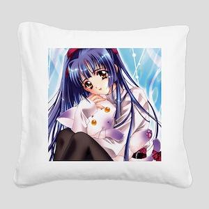 GirlWithCat Square Canvas Pillow