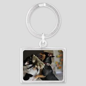 Playful Rat Terrier Dogs Landscape Keychain