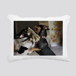 Playful Rat Terrier Dogs Rectangular Canvas Pillow