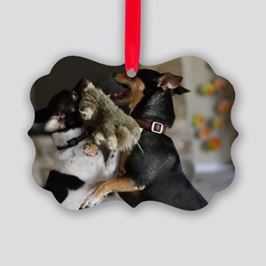 Playful Rat Terrier Dogs Picture Ornament