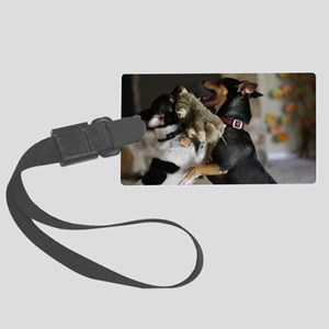 Playful Rat Terrier Dogs Large Luggage Tag