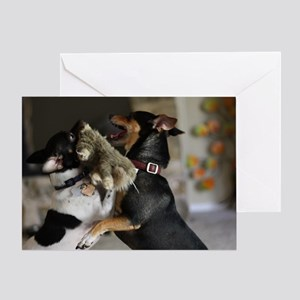 Playful Rat Terrier Dogs Greeting Card