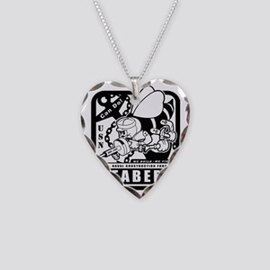 seabees retro black ink Necklace Heart Charm